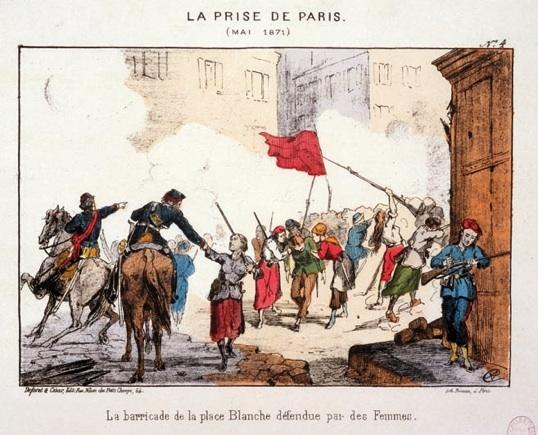 Plusieurs femmes défendant la barricade de la place Blanche